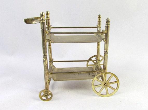 Tea Cart Vintage Dollhouse Furniture Brass Miniature