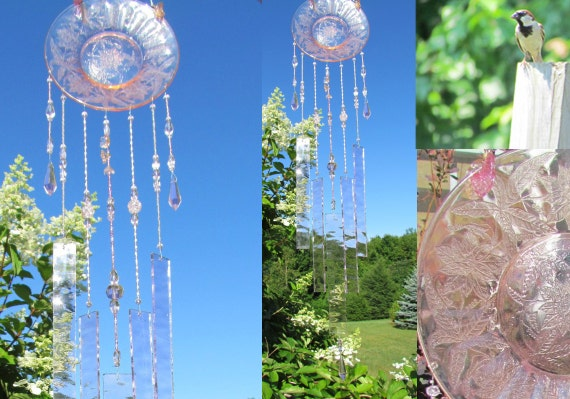 Pink Depression Glass Wind Chime with Stained Glass Chimes