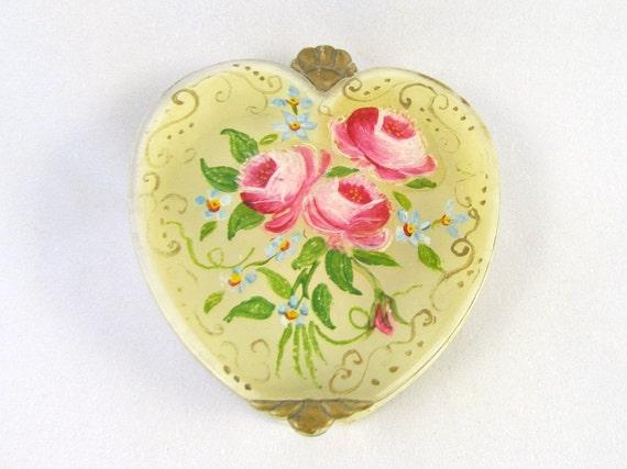 Vintage Heart Trinket Box Roses Painted on Top