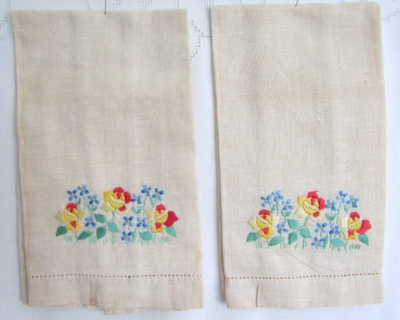 Vintage Tea Towels Embroidered Flowers Set of Two