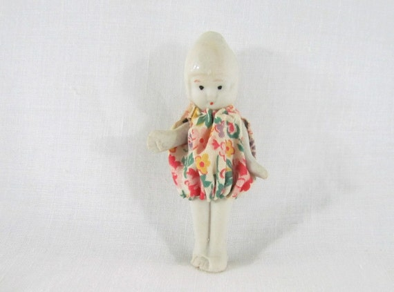 Miniature Porcelain Vintage Doll in Handmade Outfit