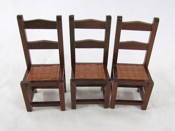 Miniature Dollhouse Chairs with Reed Seat