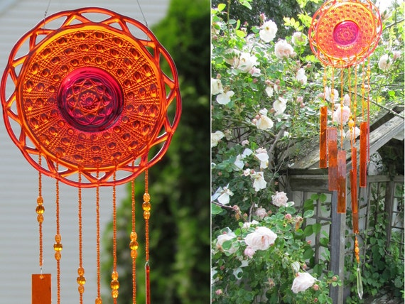 Vintage Glass Dish Wind Chime Bright Orange Red