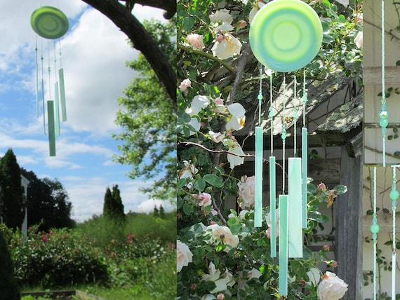 Jadeite Fire king Windchime Handmade with Beads and Stained Glass