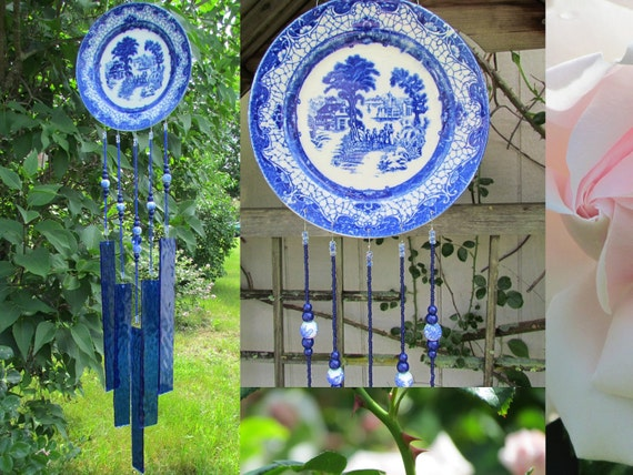 Glass and Porcelain Wind Chime Handcrafted Blue and White