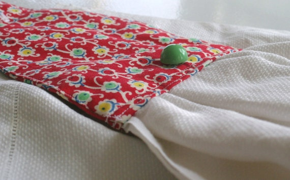Red Calico Hanging Hand Towel - with an iconic vintage green button