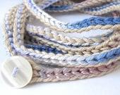 Crochet bracelet, wrap bracelet, crochet necklace, cuff bracelet, wrist band, crochet jewelry, fiber jewelry, fall fashion, bohemian jewelry