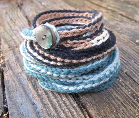 Crochet bracelet  or necklace in tan, aqua, teal, black and cream, 11x wrap, crochet jewelry, fiber jewelry, fall