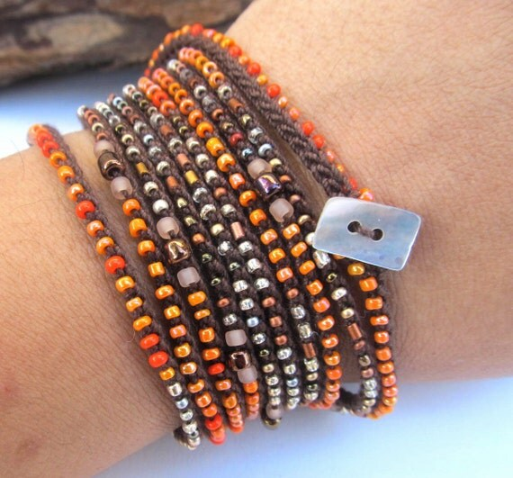 "Crochet  wrap bracelet / necklace, beaded, ""tribal orange"", tangerine, brown, metallic, fiber jewelry, spring accessories, spring fashion"