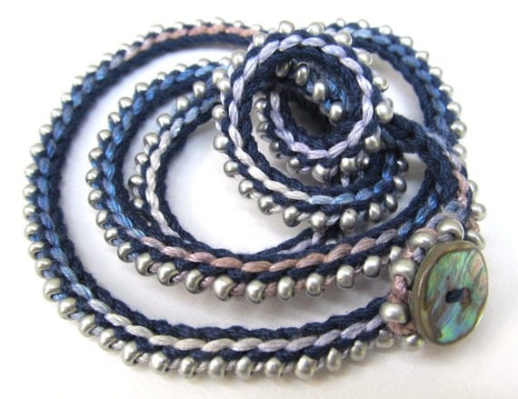 """Crochet wrap bracelet / necklace, beaded, silver, navy, """"Silver sea"""", crochet jewelry, spring accessories, spring fashion"""
