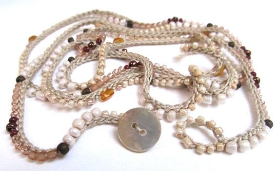"Crochet wrap bracelet / necklace, beaded, ""dune"", peach, cream, bohemian jewelry, crochet jewelry, fiber jewelry, fall fashion"