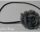 Shabby Chic Chiffon Rosette Headband - grey flower on grey headband