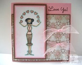 Lovely Girl Juggling Hearts - Pink and Brown - Love Ya - Greeting Card