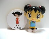 Cute Chinese Girl - Ni Hao (Hello in Chinese) - Wood Magnet