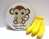 Chinese Zodiac - Year of the Monkey - Wood Magnet