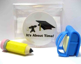 Graduation Hat and Diploma - Its About Time - Funny Wood Magnet