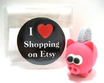 I Love (Heart) Shopping on Etsy - Wood Magnet