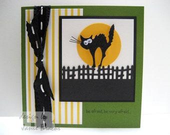 Scared Black Cat - Be Afraid, Be Very Afraid - Halloween Greeting Card