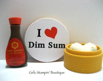 I Love (Heart) Dim Sum - Wood Magnet