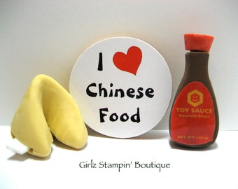 I Love (Heart) Chinese Food - Wood Magnet
