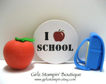 I Love (Red Apple) School - Wood Magnet