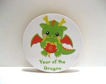 Chinese Zodiac  - Year of the Dragon - Wood Magnet