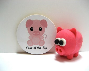 Chinese Zodiac - Year of the Pig - Wood Magnet