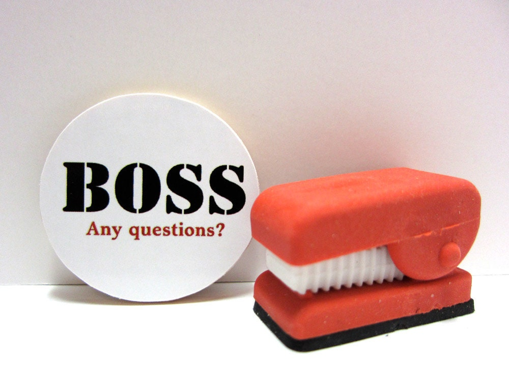 BOSS Any questions Funny Wood Magnet by GirlzStampin on Etsy