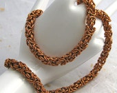 Heavy copper byzantine chain necklace unisex chainmail