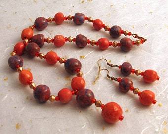 Porcelain beaded necklace and earrings marbled purple and coral