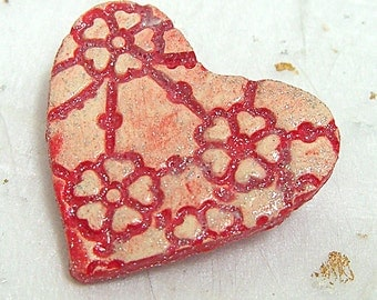 Heart brooch pin red textured porcelain Valentine's Day gift