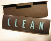 Clean Dirty Dishwasher Magnet Sign, Brown and blue