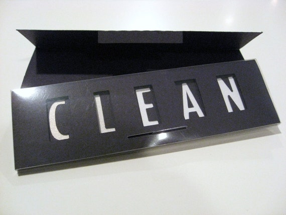 Quick Flick, Clean / Dirty Dishwasher Sign (black and shimmering white)