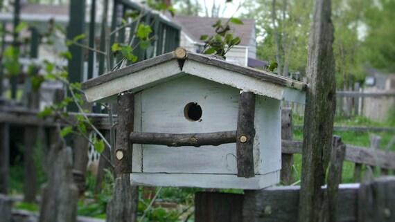 Rustic white bird cabin, feeder, house