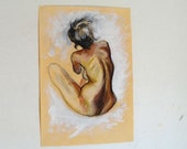 Original Pastel Drawing on paper, golden nude No.21 by juliacalimera