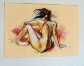 Original Pastel Drawing on paper, golden nude No.20 by juliacalimera