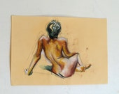 Original Pastel Drawing on paper, golden nude No.23by juliacalimera