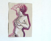Original Tempera Painting on paper, Pink Flame nude No.9 by juliacalimera