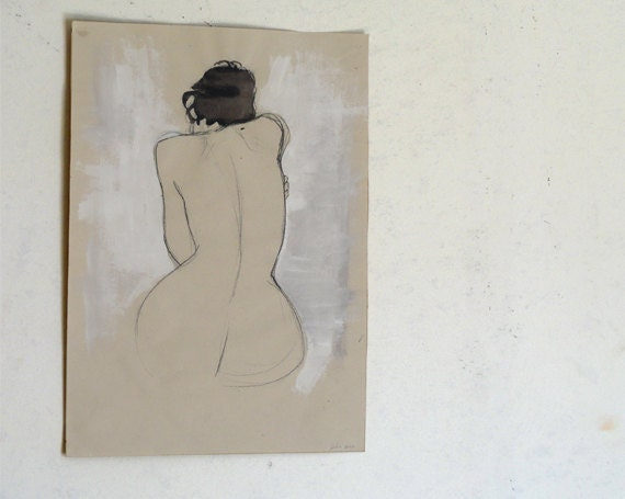 Original Tempera Painting on paper, nude No.01 by juliacalimera