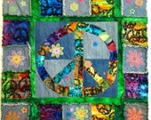 Peace Sign Rag Wall-hanging Quilt