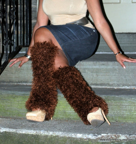 boot covers leg warmers brown by fiercestitchllc