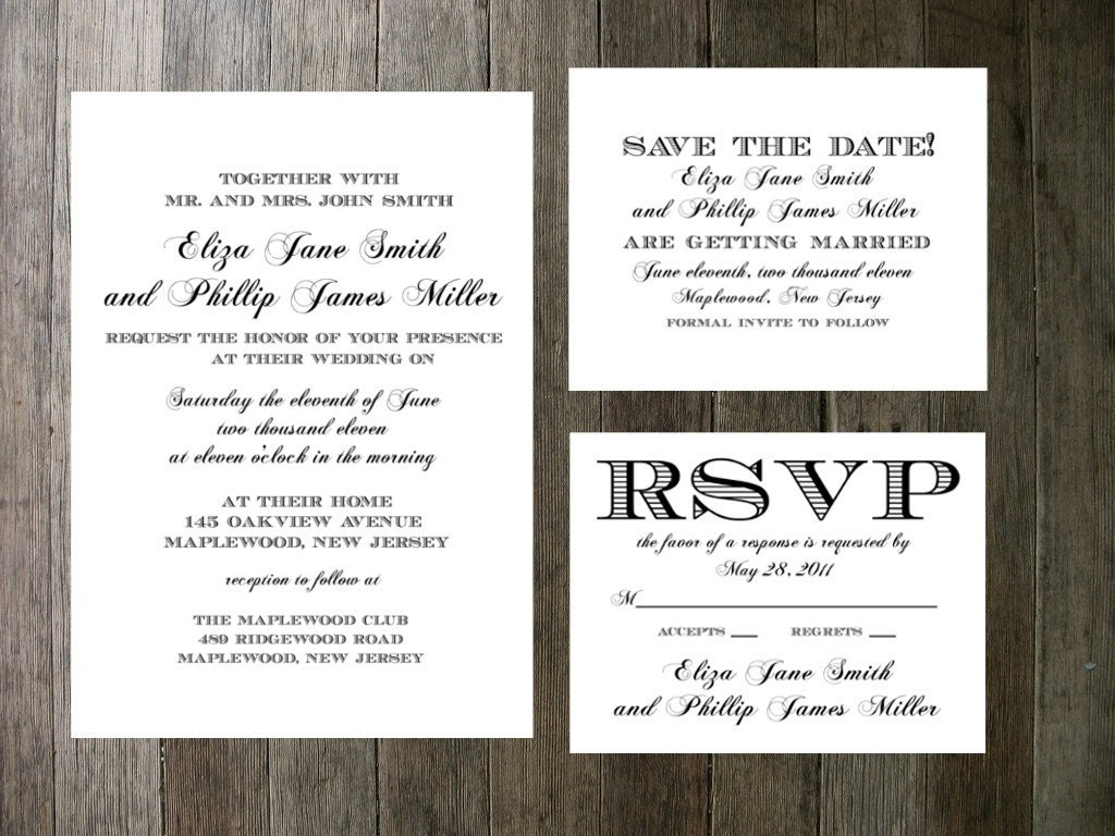 Formal Wedding Invitation Templates: Printable Wedding Invitation Simple Formal By PocketSizePress