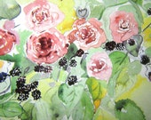English Red Roses WIth Juicy Blackberries Original New  Watercolour 8.5 INCHES X 7 INCHES