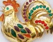 Vintage jewelry brooch in vermeil  Lenox 925 USA rooster brooch