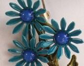 Vintage  jewelry brooch in blue flower enameled brooch  60s