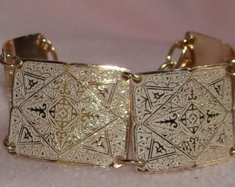 Vintage jewelry bracelet in ALUMINUM vintage bracelet with enamel and copper finish  50s Half price Sale