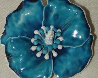 Vintage  jewerly brooch blue enamel designer flower brooch by Art 1950's wedding brooch