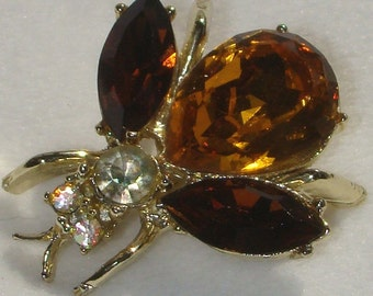Vintage jewerly brooch in gold tone orange brown yellow rhinestone fly brooch
