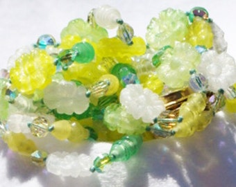 Vintage jewelry necklace Vogue Jewelry double strand molded glass and AB Swarovski Crystals in green and yellow