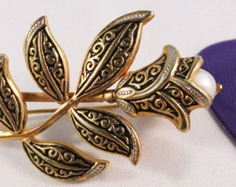 Vintage Damascene floral brooch with soft white pearl accent brooch Sale 50 percent off